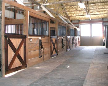 view of a row of horse stalls